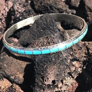Navajo Sterling Turquoise Stone Inlay Bangle